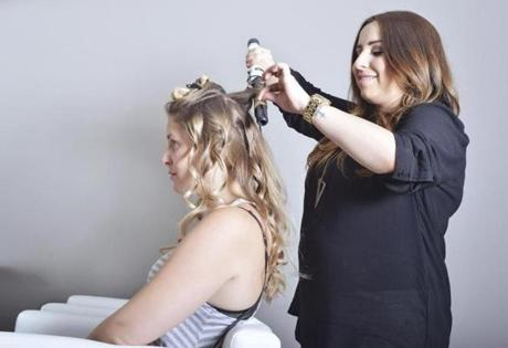 Blo Blow Dry Bar South End style director Jacqueline Romero at work.